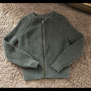 GAP Kids Boys cable knit full zip sweater gray